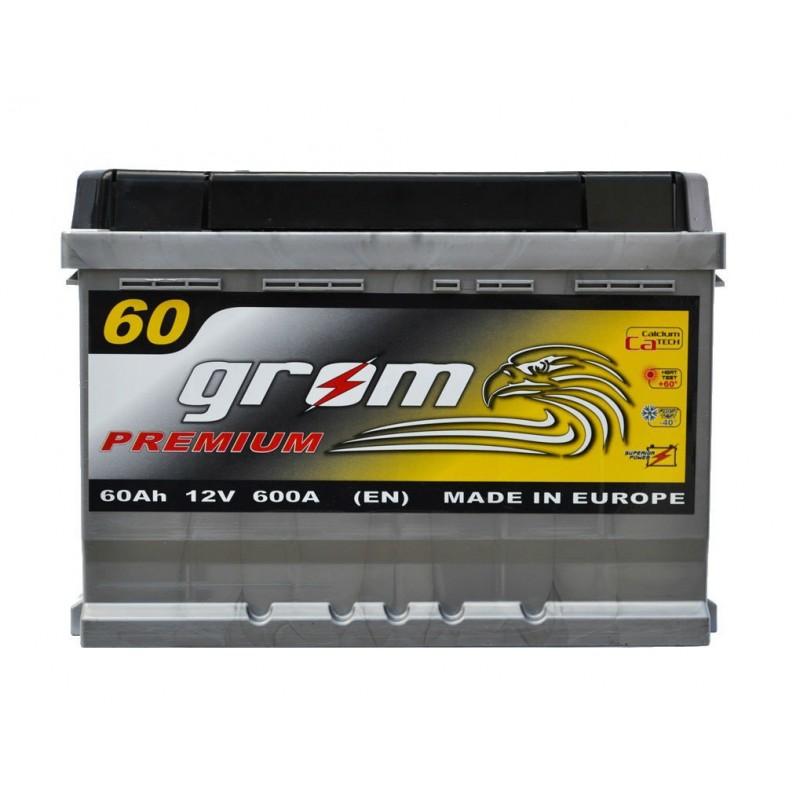 Акумулятор Grom Premium 60Ah L 600A (низька база)