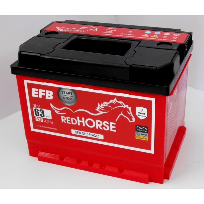 Акумулятор Red Horse EFB 63Ah R 620A низькобазовий